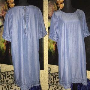 GAP Jean Denim shift short sleeve dress XL